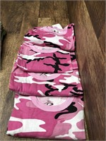 4- short sleeve pink camo shirts size S