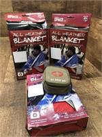 Emergency blankets and first aid kit