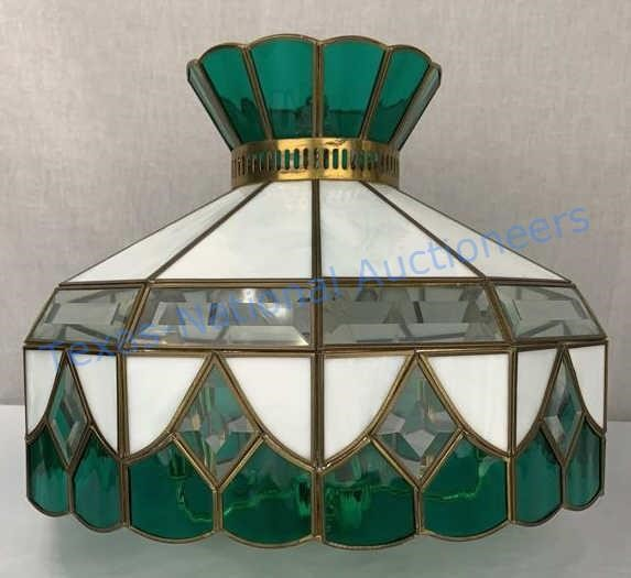 Vintage Stained Glass Hanging Lamp Texas National Auctioneers