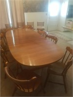 Dining room table 8-chairs (by Tell City Chair Co.)