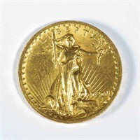 1907 Saint Gaudens high-relief double-eagle $20 gold coin with Roman numerals, from a broad selection of fine coins and other currency. 