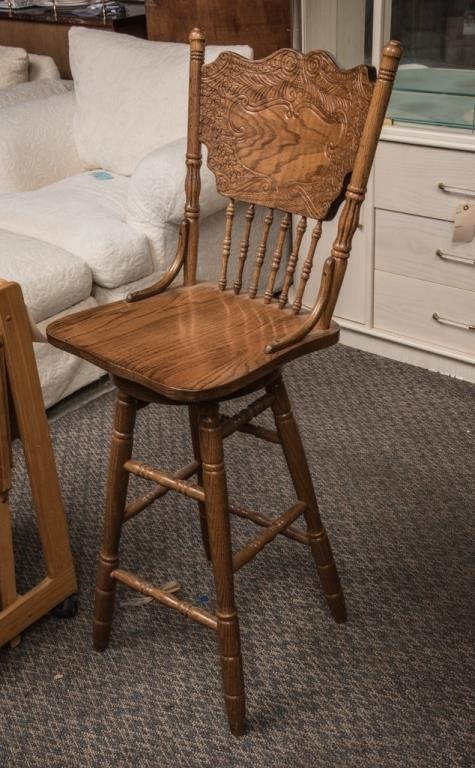 Enjoyable New Oak Pressed Back Swivel Bar Stool The K And B Auction Machost Co Dining Chair Design Ideas Machostcouk