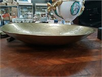 Antique Chinese brass carved bowl