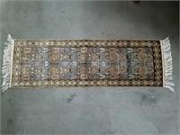 "Handmade silk tapestry signed 37""x12"""