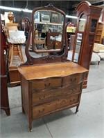 Tiger oak antique dresser and mirror