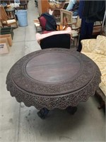 Antique Anglo-Indian carved wood entrance table