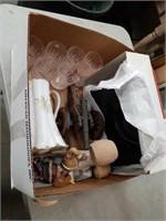 Box of glasses, purse,painting etc