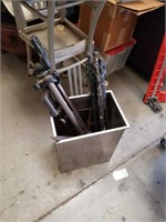 Metal Box with tools and tripods