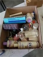 Box of shampoos etc
