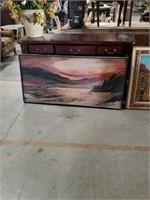 Oil painting beach scene