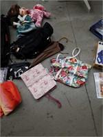 Miscellaneous bags, umbrella, stuffed animals