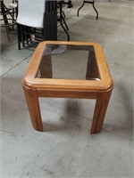 Oak table with glass insert