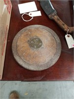 Antique track-and-field wood and iron discus