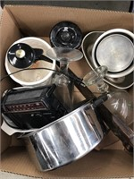 Box with saw misc dishes/radio