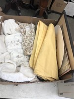Box of  linen and framed sketch