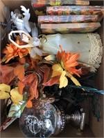 Box of Christmas and fall decor