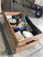 Crate of misc binoculars/flashlights/gardening
