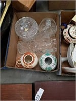 Box of Ginger jars and crystal pieces