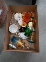 Box of Bohemian glass pieces