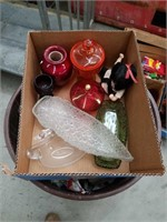 Bax of covered glass dishes and other pieces
