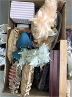 Box of misc pillows/ organizing trays