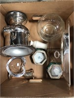 box of silver plated, glassware including orrefors