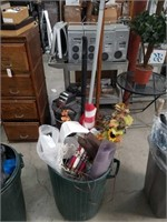 Barrel of garage items