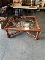 Oak square glass top coffee table