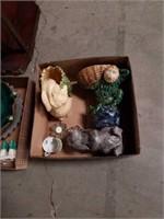 Box of ceramic animal figurines