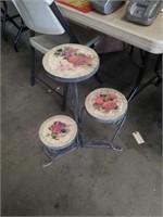 Triple flower pot stand tile top