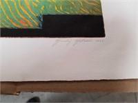 Colored block print   Pencil signed