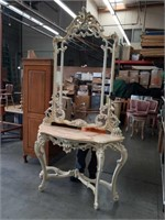 Carved Italian console table and mirror