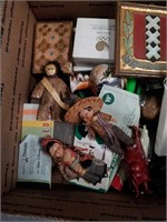 Box of Mexican figurines and collectibles
