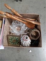 Box of crystal pieces and carved serene utensils