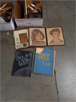 Box of old pictures and books
