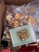 Box of pins  buttons  etc