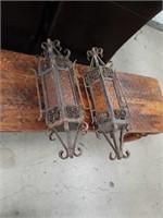 Pair of old hanging metal lamps