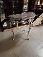 Marble top Half Moon consul table