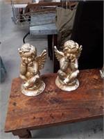 Pair of  chalk cherubs