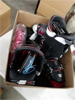 Box of shoes and snow boots