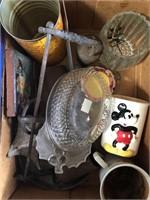 Box of misc Mickey mug
