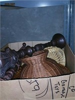 Box of candle holders and baskets