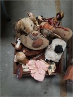 Box of old stuffed animals and toys