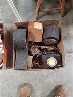 Box of clocks and miscellaneous