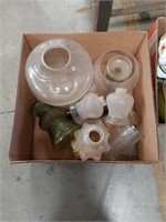 Box of glass vases and lamps shades
