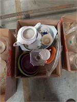 Box of cake plate and miscellaneous dishes
