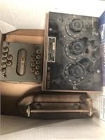 Box of antique electronics