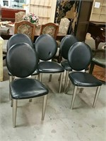 Lot of 5 stainless steel framed modern chairs