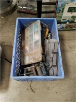 Crate of tools and miscellaneous hardware