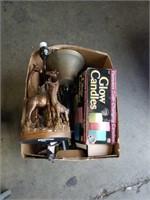 Box of flatware giraffe lamp and miscellaneous